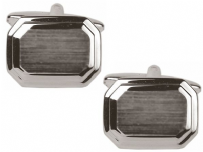 Dalaco 90-2161 Dual Finished Rectangle Rhodium Plated Cufflinks